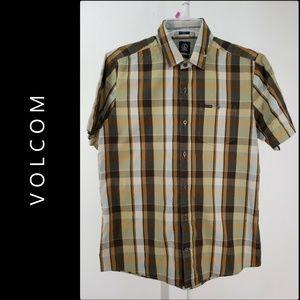 Volcom Men's Slim Fit Short Sleeve Button Up Shirt